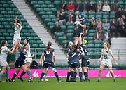 Twickenham, Surrey. UK.  Oxford, Katie COLLIS, collets the line out ball, during the 2017 Women's Varsity Rugby Match, Oxford vs Cambridge Universities. RFU Stadium, Twickenham. Surrey, England.<br /> <br /> Thursday  07.12.17  <br /> <br /> [Mandatory Credit Peter SPURRIER/Intersport Images]
