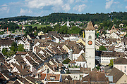 From the Munot fortress, see the steeple St Johann Church in Schaffhausen's Old Town, in Switzerland, Europe.