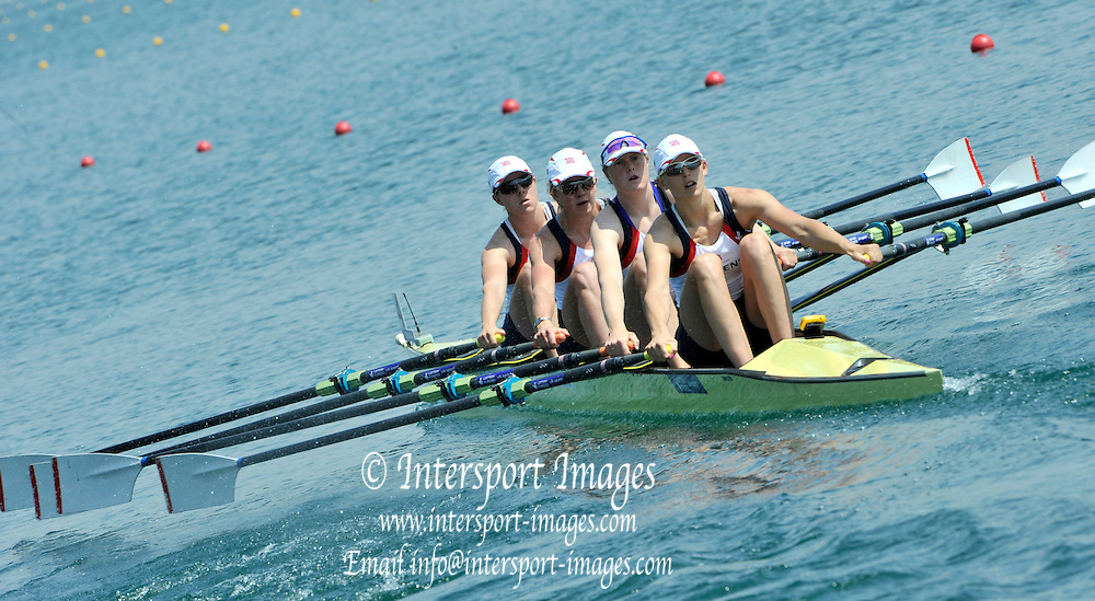Belgrade, SERBIA. 2012  GBR W4X Bow Beth RODFORD, Mel WILSON, Frances HOUGHTON and Vicky THORNLEY move away from the start. FISA World Cup I.   Friday  04/05/2012 [Mandatory Credit. Peter Spurrier/Intersport Images]