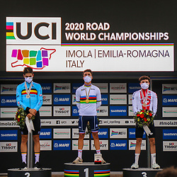 27-09-2020: wielrennen: WK weg mannen: Imola<br /> Julian Alaphillipe world champion road in Imola Italy. 2nd Wout van Aert (Belgium) and 3th Mark Hirschi (Switserland)27-09-2020: wielrennen: WK weg mannen: Imola<br /> Julian Alaphillipe world champion road in Imola Italy. 2nd Wout van Aert (Belgium) and 3th Mark Hirschi (Switserland)