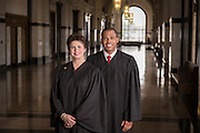 Judge Laurie White and Judge Arthur Hunter at the Orleans Parish Criminal Districe Court in New Orleans.