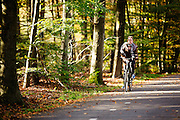 Bij Austerlitz geniet een meisje op de fiets van het mooie herfstweer.<br /> <br /> Cyclists enjoy the beautiful autumn weather in the woods near Zeist.
