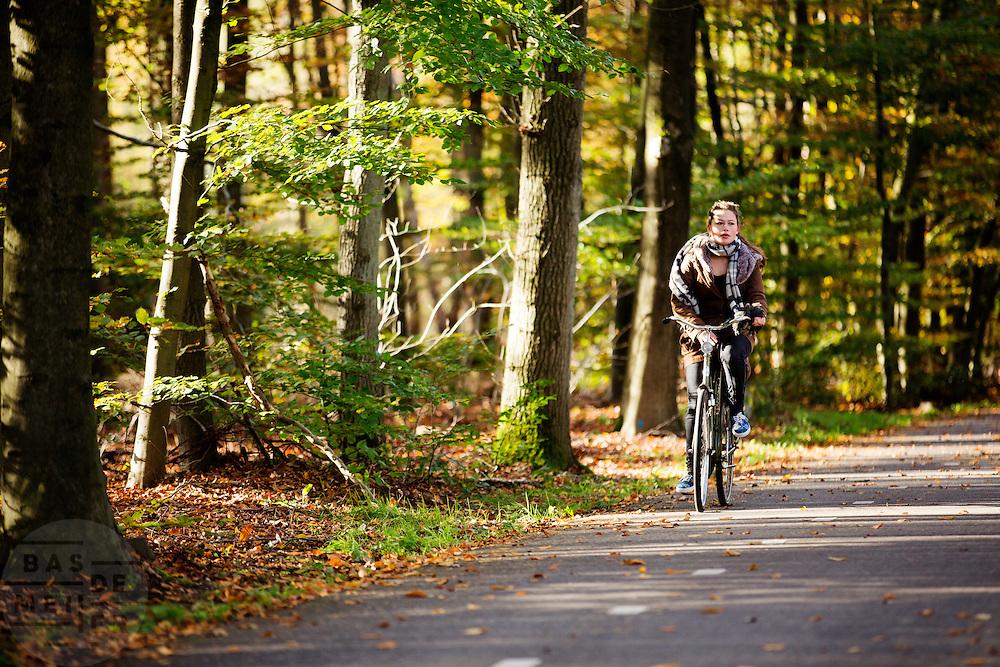 Bij Austerlitz geniet een meisje op de fiets van het mooie herfstweer.<br /> <br /> Cyclists enjoy the beautiful autumn weather in the woods near Zeist.