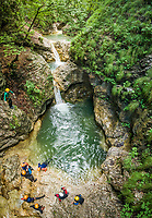 Aerial view of group canyoning.