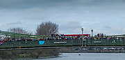 Hammersmith. London. United Kingdom,  Spectators on Hammersmith Bridge, 2018 Men's Head of the River Race.  Championship Course, Putney to Mortlake. River Thames, <br /> <br /> Sunday   11/03/2018<br /> <br /> [Mandatory Credit:Peter SPURRIER Intersport Images]<br /> <br /> Leica Camera AG  M9 Digital Camera  1/1000 sec. 50 mm f. 160 ISO.  17.5MB