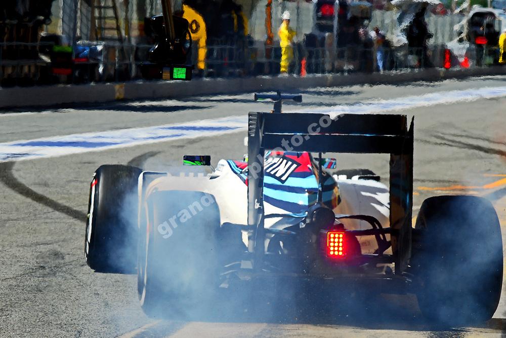 Valtteri Bottas (Williams-Mercedes) making smoke during practice for the 2016 Spanish Grand Prix at the Circuit de Catalunya outside Barcelona. Photo: Grand Prix Photo
