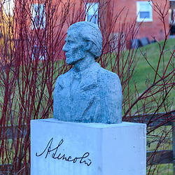 Hanover Junction, PA, USA - February 28. 2016: A bust of President Lincoln commemorates his arrival at Hanover Junction en route to Gettysburg in 1863.