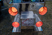 Decochari customized bicycle. The lights are powered by car batteries.