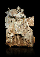 Roman Sebasteion relief  sculpture of Roma armed, Aphrodisias Museum, Aphrodisias, Turkey.   Against a black background.<br /> <br /> Roma is equipped with a spear, helmet, round shield and imperial style armour. Blow crouches a naked bearded prisoner, with hands tied behind his back and a skin knotted around his neck. He turns to look up at Roma .<br /> <br /> If you prefer to buy from our ALAMY STOCK LIBRARY page at https://www.alamy.com/portfolio/paul-williams-funkystock/greco-roman-sculptures.html . Type -    Aphrodisias     - into LOWER SEARCH WITHIN GALLERY box - Refine search by adding a subject, place, background colour, museum etc.<br /> <br /> Visit our ROMAN WORLD PHOTO COLLECTIONS for more photos to download or buy as wall art prints https://funkystock.photoshelter.com/gallery-collection/The-Romans-Art-Artefacts-Antiquities-Historic-Sites-Pictures-Images/C0000r2uLJJo9_s0