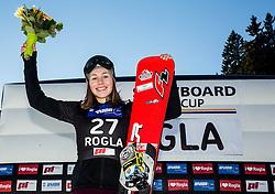 28.01.2017, Course Jasa, Rogla, SLO, FIS Weltcup Snowboard, Rogla, Parallel Riesenslalom, Damen, Siegerehrung, im Bild Second placed Carolin Langenhorst (GER) celebrates at trophy ceremony // after women's Parallel Giant Slalom of the Rogla FIS Snowboard World Cup at the Course Jasa in Rogla, Slovenia on 2017/01/28. EXPA Pictures © 2017, PhotoCredit: EXPA/ Sportida<br /> <br /> *****ATTENTION - OUT of SLO, FRA*****