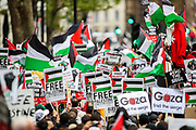 """London, United Kingdom, May 11, 2021: Pro-Palestinian demonstrators holding banners and Turkish as well as Palestinian flags gathered outside Downing Street to protest against Israeli air raids on Gaza Strip. Demonstrators chanted """"Free-Free Palestine!"""" demanding the commitment of Great Britain to end their support for Israel. (Photo by Vudi Xhymshiti/VXP)"""