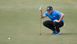 February 28, 2019 - Palm Beach Gardens, Florida, U.S. - Sergio Garcia lines up a putt on the 9th hole during the first round of the Honda Classic Thursday at PGA National Resort and Spa in Palm Beach Gardens, February 28, 2019. (Credit Image: © Allen Eyestone/The Palm Beach Post via ZUMA Wire)