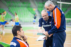 30-12-2019 SLO: Slovenia - Netherlands, Ljubljana<br /> Coach Roberto Piazza of the Netherlands and Ass. coach Henk-Jan Held of Netherlands during friendly volleyball match between National Men teams of Slovenia and Netherlands