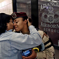 Spc. Shekia Boggan with the 44th Medical Command, right, and her mother Carolyn Anthony say their last goodbye at the green ramp att Pope Air Force Base. The 44th Medical Command are deploying for Iraq.