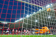 James Collins (#19) of Luton Town FC scores a penalty during the EFL Sky Bet League 1 match between Sunderland AFC and Luton Town at the Stadium Of Light, Sunderland, England on 12 January 2019.