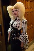 A woman in a tight corset and an elaborate hairdo.