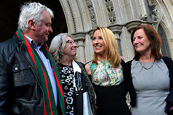 (l-r) Kevin and Helen Brewer (Beth's parents-in-law), Beth Warren, and Georgina Hyde (Beth's mother). Widow Beth Warren leaves The High Court, London, UK, after winning her fight with the High Court to preserve her late husband's sperm.<br /> Thursday, 6th March 2014. Picture by Ben Stevens / i-Images