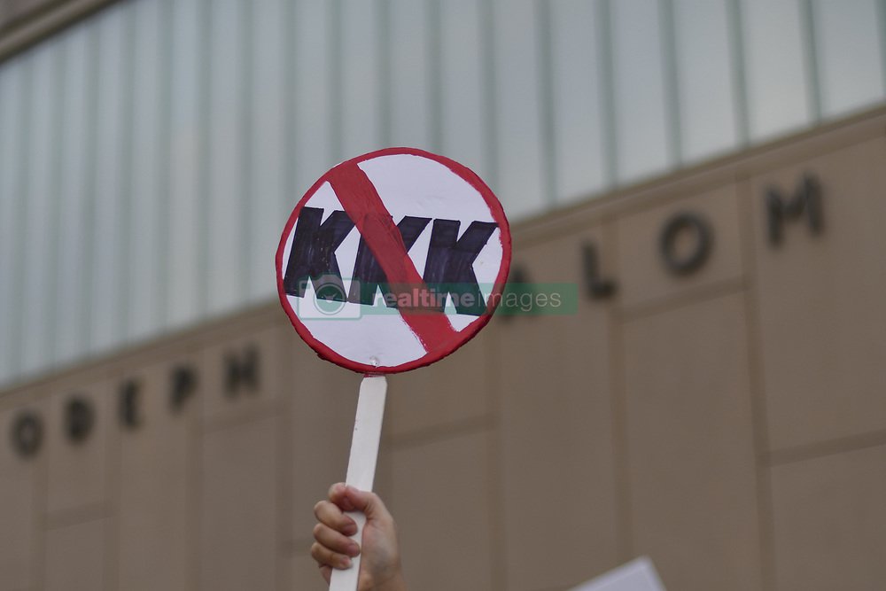 August 16, 2017 - Philadelphia, Pennsylvania, United States - A banner anti KKK is seen during march Against Hate Held In Philadelphia In Wake Of Charlottesville, on August 16, 2017.  Demonstrations are being held following clashes between white supremacists and counter-protestors in Charlottesville, Virginia over the weekend. Heather Heyer, 32, was killed in Charlottesville when a car allegedly driven by James Alex Fields Jr. barreled into a crowd of counter-protesters following violence at the Unite the Right rally. (Credit Image: © Bastiaan Slabbers/NurPhoto via ZUMA Press)