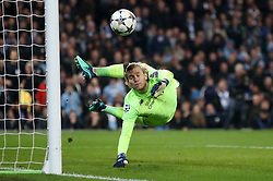 Liverpool goalkeeper Loris Karius dives as the ball comes off the post during the UEFA Champions League, Quarter Final at the Etihad Stadium, Manchester.