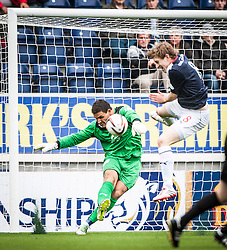 Dundee's keeper Kyle Letheren with Falkirk's Blair Alston.<br /> Falkirk 3 v 1 Dundee, 21/9/2013.<br /> ©Michael Schofield.