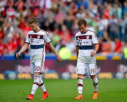 Football: Germany, 1. Bundesliga, SC Freiburg - FC Bayern Muenchen, Freiburg - 16.05.2015,<br /> Mitchell Weiser (Bayern) und Mario Goetze (Bayern) dejected at the end of the match<br /> <br /> © pixathlon<br /> <br /> +++ NED out !!! +++