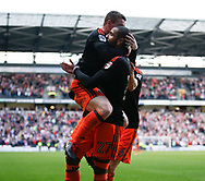 Leon Clarke of Sheffield Utd celebrates his goal with John Fleck of Sheffield Utd  during the English League One match at  Stadium MK, Milton Keynes. Picture date: April 22nd 2017. Pic credit should read: Simon Bellis/Sportimage