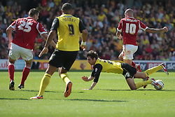 Watford's Diego Fabbrini is fouled by Nottingham Forest's Henri Lansbury   - Photo mandatory by-line: Nigel Pitts-Drake/JMP - Tel: Mobile: 07966 386802 25/08/2013 - SPORT - FOOTBALL -Vicarage Road Stadium - Watford -  Watford v Nottingham Forest - Sky Bet Championship