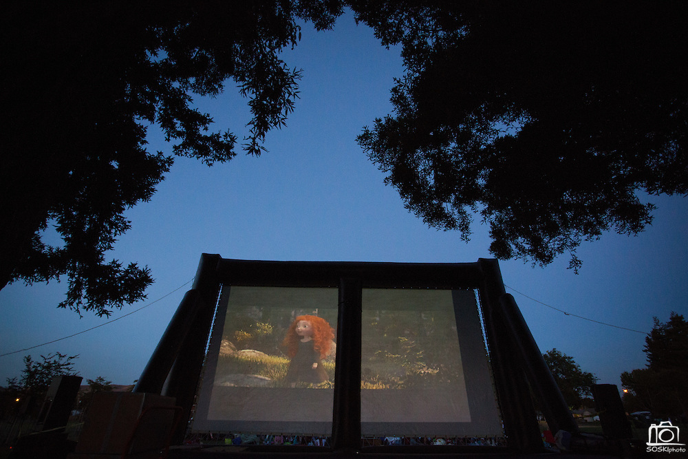 The movie Brave is the main attraction during the 6th Annual District 4 National Night Out Resource Fair and Movie Night at Northwood Park in San Jose, California, on August 6, 2013. (Stan Olszewski/SOSKIphoto)