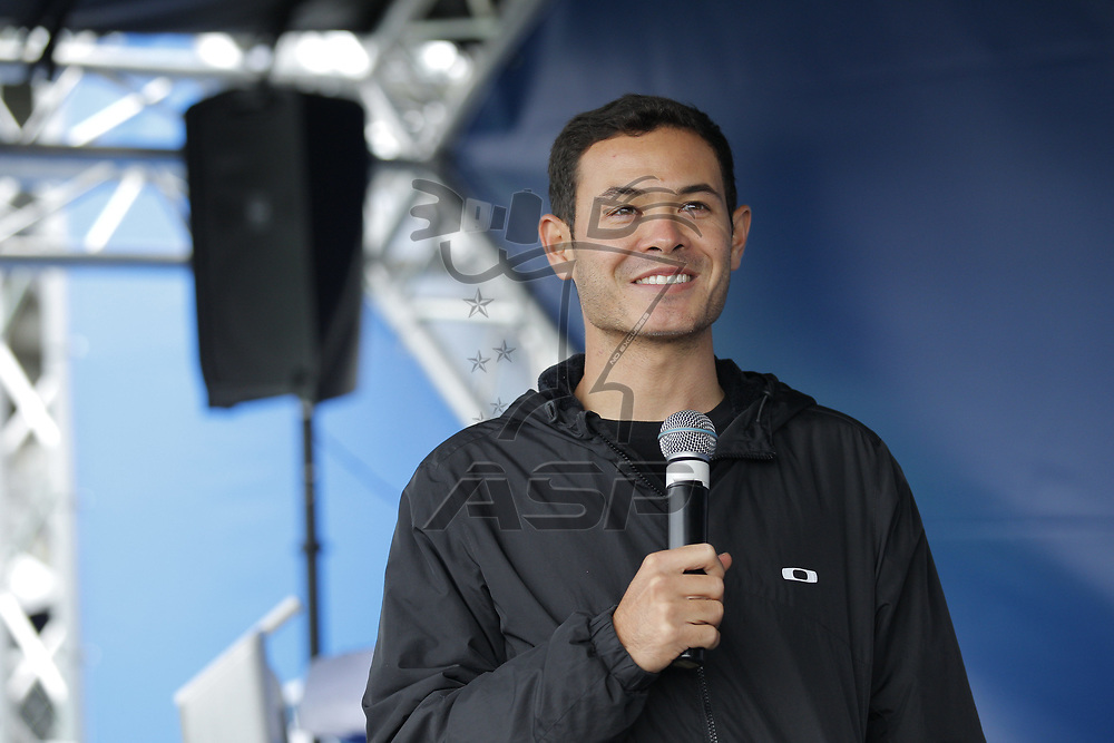 October 29, 2017 - Martinsville, Virginia, USA: Kyle Larson (42) makes an appearance at the First Data display tent before the First Data 500 at Martinsville Speedway in Martinsville, Virginia.