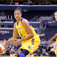 25 May 2014: Los Angeles Sparks forward/center Candace Parker (3) dribbles during the Los Angeles Sparks 83-62 victory over the San Antonio Stars, at the Staples Center, Los Angeles, California, USA.