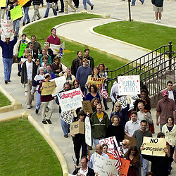 Austin, Texas USA November 11, 2000: FILE Protesters at the Texas Capitol  denounce Republican George W. Bush's effort to dismiss Florida's recount of the U.S. presidential votes that will determine the winner between Bush and Democrat Al Gore. Protests continued the rest of the month and into December because of the election uncertainty and Florida recount