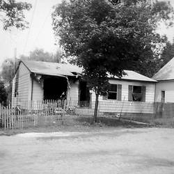 A fire burned out home in Heyworth Illinois - mid to late 1970's<br /> <br /> <br /> This image was scanned from a slide, print or transparency.  Image quality may vary.  Dust and other unwanted artifacts may exist.