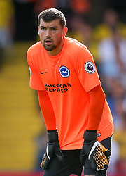 """Brighton and Hove Albion's Mat Ryan during the Premier League match at Vicarage Road, Watford. PRESS ASSOCIATION Photo. Picture date: Saturday August 26, 2017. See PA story SOCCER Watford. Photo credit should read: Scott Heavey/PA Wire. RESTRICTIONS: EDITORIAL USE ONLY No use with unauthorised audio, video, data, fixture lists, club/league logos or """"live"""" services. Online in-match use limited to 75 images, no video emulation. No use in betting, games or single club/league/player publication"""