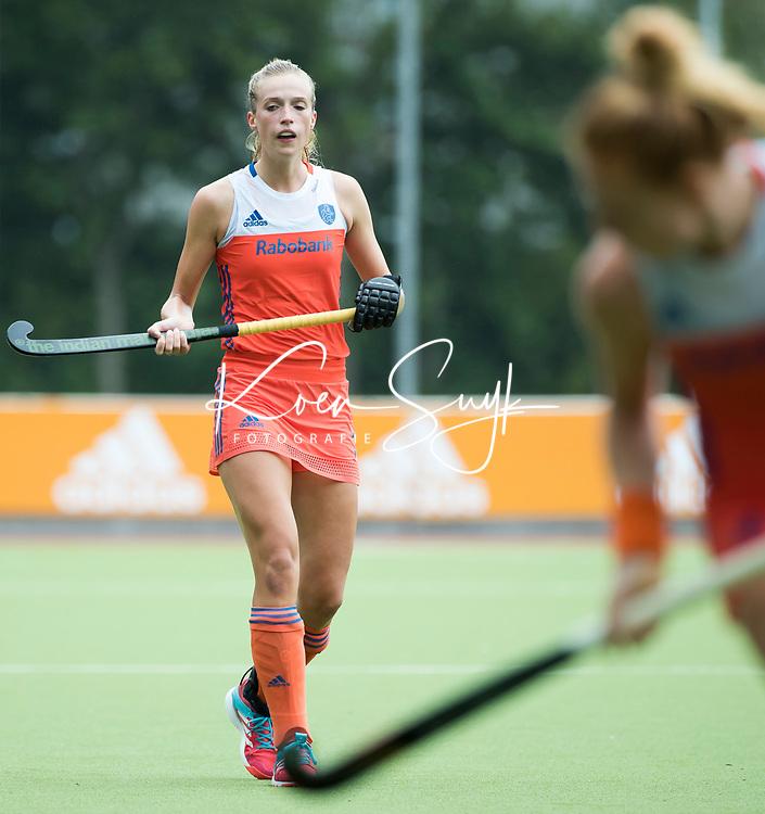 SCHIEDAM - Sanne Koolen (Ned)   tijdens een oefenwedstrijd tussen  de dames van Nederland en Belgie , in aanloop naar het  EK Hockey, eind augustus in Amstelveen. COPYRIGHT KOEN SUYK
