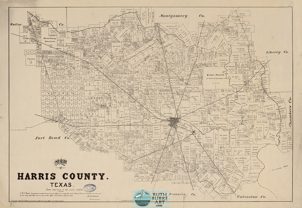 Vintage maps and land plots from the Houston-Galveston coastal area including the Gulf of Mexico Vintage maps of Texas and Louisiana from 1582