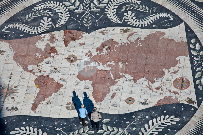 Tourists on a giant world map at the foot of the Monument to the Discoveries, Padrao dos Descobrimentos, Belem, Lisbon, Portugal, Europe ©Carlos Sanchez Pereyra / PILAR REVILLA