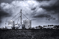 Mid-summer storm clouds gathering over a farm in rural southern New Jersey.