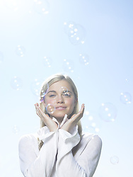 Jul. 10, 2008 - Girl with bubbles. Model Released (MR) (Credit Image: © Cultura/ZUMAPRESS.com)