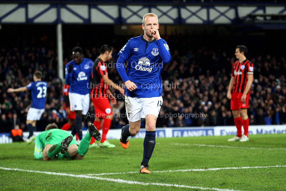 Steven Naismith of Everton celebrates after scoring his teams 3rd goal. Barclays Premier league match, Everton v Queens Park Rangers at Goodison Park in Liverpool, Merseyside on Monday 15th December 2014.<br /> pic by Chris Stading, Andrew Orchard sports photography.