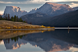 Fly-fisherman, Square Top Peak, Wind River Mountains, reflection, Green River Lakes