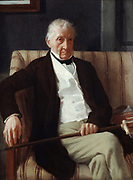 Hilaire de Gas (1770-1857), grandfather of the artist', 1857. Oil on canvas by Edgar Degas (1834-1917) French  Impressionist painter, sculptor and printmaker. Portrait of man in old age, seated and facing forward.