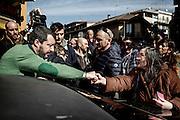 Matteo Salvini, leader della lega Nord, incontra i cittadini del quartiere periferico di Tor Sapienza. Roma 24 Febbraio 2016. Christian Mantuano / OneShot