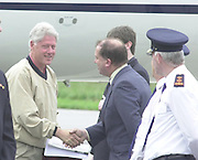 Bill Clinton pictured upon arrival at Kerry Airport on Sunday morning and is welcomed to Ireland by Kerry Airport Manager Peter Moore .<br />Picture: Eamonn Keogh (MacMonagle, Killarney