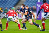 Hamish Watson (#7) of Edinburgh Rugby looks to run past Jessy Jegerlhener (#7) of SU Agen Rugby during the European Rugby Challenge Cup match between Edinburgh Rugby and SU Agen at BT Murrayfield, Edinburgh, Scotland on 18 January 2020.