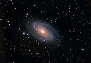 Bode's Galaxy (Messier 81 or NGC 3031) in the constellation Ursa Major, lying asbout 12 million ly away from Earth having a diameter of about 900 000 ly.
