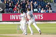 WICKET - Brydon Carse has Neil Dexter caught by Ned Eckersley during the Specsavers County Champ Div 2 match between Durham County Cricket Club and Leicestershire County Cricket Club at the Emirates Durham ICG Ground, Chester-le-Street, United Kingdom on 19 August 2019.
