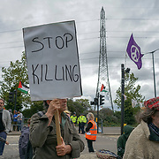Kurdish community and supported demonstration at Excel London arms sales protest Stop Genocide against the Kurds! Stop #DSEI at Excel London on 10th September 2017.