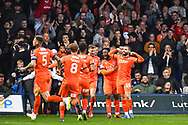 Luton Town Forward Elliot Lee (10) celebrates scoring a goal (1-0) during the EFL Sky Bet League 1 match between Luton Town and AFC Wimbledon at Kenilworth Road, Luton, England on 23 April 2019.
