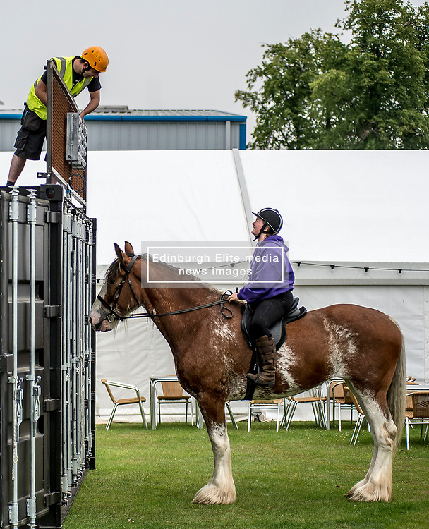 Mairi Ralston from Cambeltown chats to builder Phil Courtney from Rosewell as she takes 7 year-old Clydesdale Daisy out for a final excecise during final preparations for this years Royal Highland Show at Ingliston near Edinburgh.<br /> <br /> © Dave Johnston/ EEm