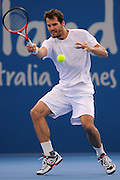 Brisbane, Australia, December 30: Tommy Haas of Germany plays a forehand shot during a training session at Pat Rafter Arena ahead of the 2012 Brisbane International Tennis Tournament in Brisbane, Australia on Friday December 30th, 2011. (Photo: Matt Roberts/Photo News)